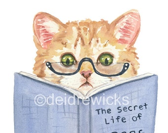 Kitten Watercolor Painting PRINT - 11x14 PRINT, Cat Illustration, Funny Cat, Book Lover,  Orange Kitten