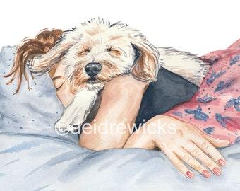 8x10 Dog Watercolor PRINT - Girl and Her Dog, Afternoon Nap, Poodle Mix Dog, Sleep, Home Decor