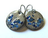Handcrafted blue enamel drop earrings Round niobium disc earring Dangling earrings Colorful jewelry Lightweight tan dangles