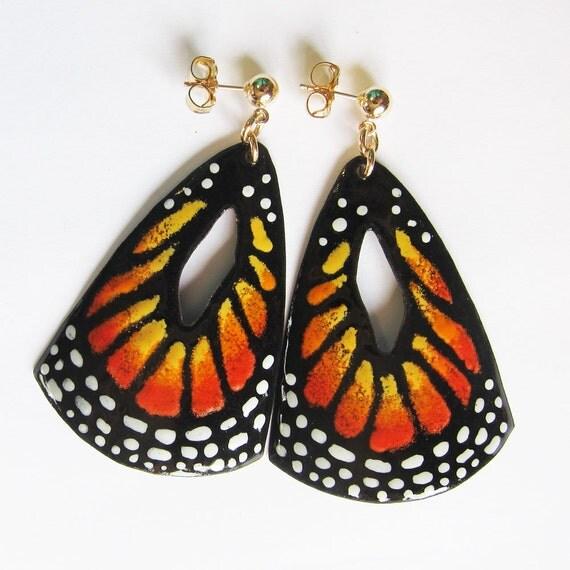 Big orange butterfly wing earrings Monarch enamel statement earrings Bohemian spring statement jewelry Gold post earrings