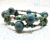 Ceramic Blue Copper Beaded Memory Wire Bracelet, Green and Copper Beaded Wrap Bracelet, Bohemian Blue and Green Crystal Copper Wire Bracelet