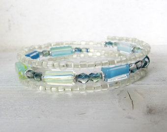 Aqua Blue and Green Beaded Memory Wire Bracelet, White, Yellow, Green, and Blue Beaded Wrap Bracelet