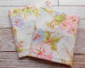 Vintage Pillowcase Set / Pink & Blue Floral / Vintage Pillowcases