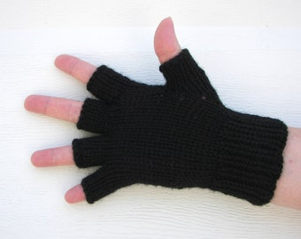 BLACK Hand Knit Half Finger Gloves in 100% Virgin WOOL