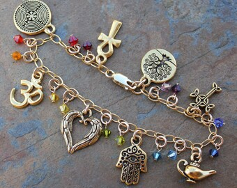Chakra Colors Ancient Religions Charm Bracelet - Gold plated charms, gold filled chain, Swarovski crystals- om, hamsa, tree of life, cross