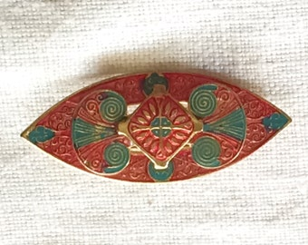 Damascene 3D layered Brooch Goldtone Metal, Red, Blue-Grey Enamel Vintage Pin Jewelry