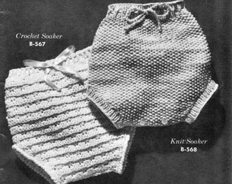 vintage knitting and crochet pattern patterns baby diaper cover soaker knit bundle worsted weight h hook printable pdf download 1940