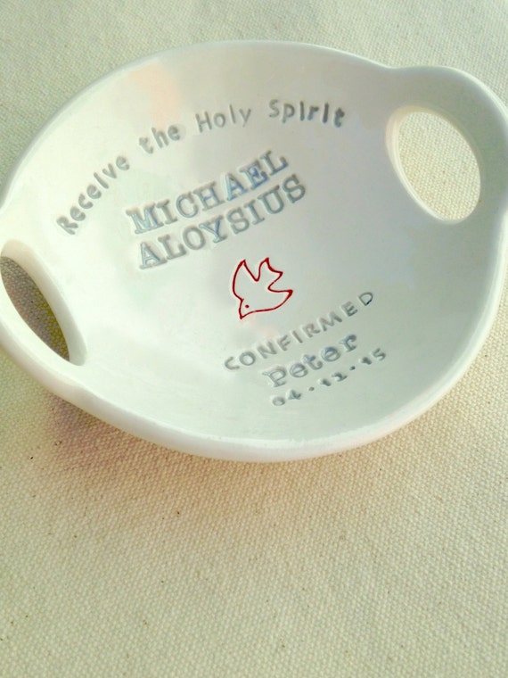 CONFIRMATION GIFT:  Custom Confirmation Bowl(TM) -- personalized-- a ClareyClayworks original,  commemorative heirloom gift