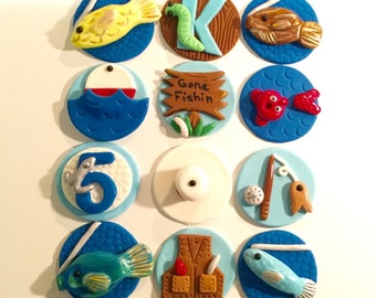 Fondant Fishing Cupcake Cake or Cookie Toppers Set of 12