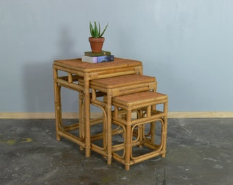 Mid Century Franco Albini Style Wicker // Rattan 3-Piece Nesting Tables