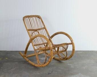 Mid Century Franco Albini Style Rattan Rocking Chair