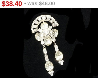 Clear Rhinestone Brooch with Dangling Baguettes & Ovals - Mid Century 1950's - 1960's P[n Pendant Vintage Style