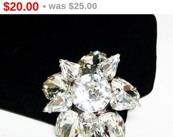 Vintage Rhinestone Star Brooch - Double Layered Spinning Star - High Fashion Mid Century Jewelry