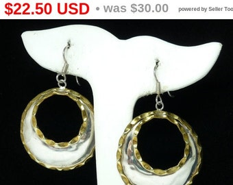 Sterling Silver Dangling Hoop Earrings - Hammered Brass Accent - Mexican 925 Retro Era Vintage Jewelry