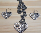 VALENTINS DAY SPECIAL- 3 pc set Silver Pewter Metal Steampunk Heart Shaped 'Gear' Necklace and Earring Set