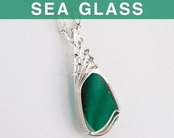 Teal Green Multi English Sea Glass Pendant