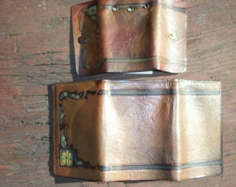Vintage Leather Real Steerhide Double Fold Wallet with Matching Key Case