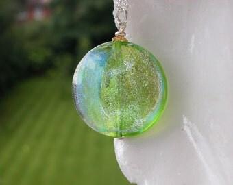 Green Murano Dichroic Venetian  Glass Necklace