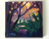 Original miniature landscape oil painting on greeting card