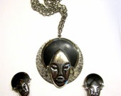 Vintage Ethnic Princess Jewelry Set Silver Black Necklace Earrings