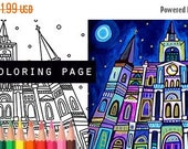 70% Off Today- St. Louis Cathedral Mardi Gras French Quarter coloring, New Orleans coloring book, adult coloring book, coloring pages