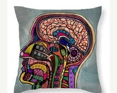 40% Off TODAY- Human Brain Head Art Pillow -   -  Modern Abstract Folk Art by Heather Galler Medical Science Anatomy (HG687)