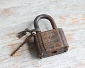 Old Rusty Lock and Key, Vintage Padlock Key, Industrial Assemblage Art, Rustic Home Decor, Masculine Man Cave, Metal Lock Key