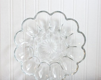Vintage Glass  Deviled Egg Plate - Daisy by Anchor Hocking Glass, Flower Shaped Egg Tray, Mid Century Entertaining, Easter Brunch