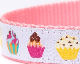 Fancy Cupcakes Dog Collar, Muffins Pet Collar, Sweet Ribbon Dog Collar