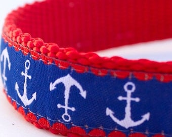 Anchors Away Dog Collar, Preppy Pet Collar, Nautical,  Red White and Blue, Adjustable