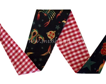 Sailor Jerry / Red and White gingham Reversable Bandana
