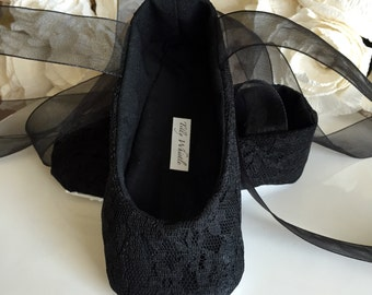 Black Lace Ballet Slippers - Flower Girl Shoes - Baby and Toddler Girl  - Holiday Dress Shoes