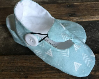 Baby Blue Arrow Print Loafer Booties for Baby Girl or Boy - Baby Boy Shoes