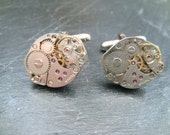 Industrial Watch Movement Cufflinks with genuine mechanical watch movements ideal xmas gift