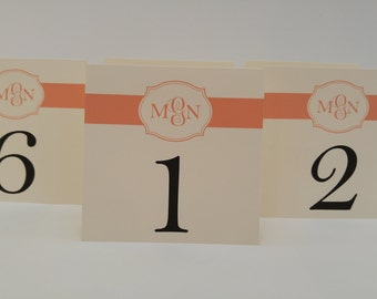 Wedding Table Numbers Personalized with Bride and Groom's Monogram Tent Design