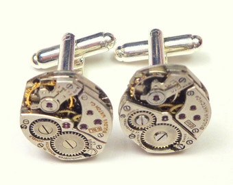 Steampunk Cufflinks, Men's Formal Wear, Ruby Jeweled, Watch Work Jewellry, Steam Punk Diesel, Goth Fashion Gear, Wedding, Prom Accessories