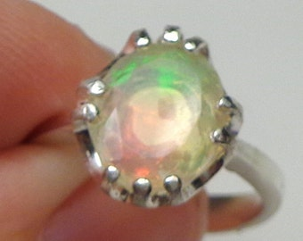 Sz 7, Welo Opal, Sterling Silver Ring,Ethiopian Opal,Pastel Color Play,Lavender,Green,Peach and Yellow,Mystical Stone, Natural Gemstone,OOAK