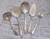 5 Assorted Vintage Silver Plate Serving Pieces - Fork Spoon Gravy Pie Tomato 11A