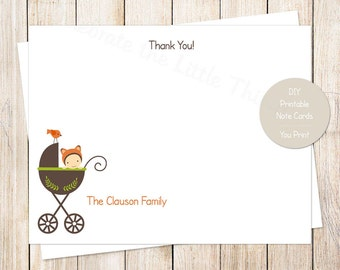 PRINTABLE baby thank you cards . fox baby . baby carriage, stroller . personalized note cards, FLAT stationery, baby shower . You Print