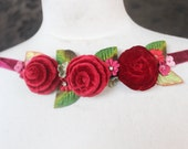 Cute flower applique  made from velvet fabric  1 pieces listing