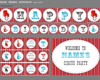 Circus Birthday Party PRINTABLES Circus Themed - DIY Printable Circus Birthday Collection
