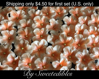 Gum Paste Blossoms Light Orange/Peach 25 Edible