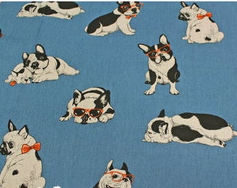 "French Bulldog   Japanese Fabric  50cm or 19"" length by 110cm or 42"""