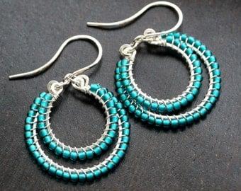Handmade teal seed bead earrings, sterling silver, beaded dangle hoop, wire wrapped, Mimi Michele Jewelry