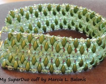 Kit and Pattern O My Super Duo Bracelet Seed Beads Crystals RAW