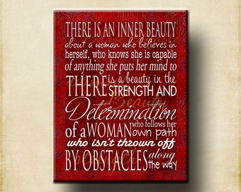 Inner Beauty Woman Word Art Print 16x20 Gallery Wrapped Canvas - Motivational Mother mom women girl gift