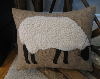 Primitive Wooly Grazing Sheep Pillow
