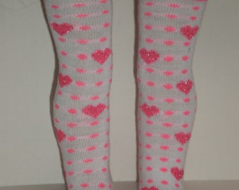 Valentine Pink & White Thigh High Socks 18 inch doll clothes