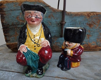 Vintage Hand Painted Shorter England Toby Jugs Parson John and Guardsman
