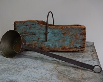 Vintage Antique Brass Pot With Hand Forged Handle